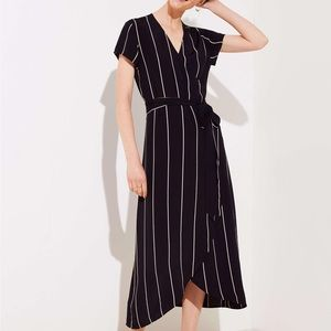 Loft Plus Striped Wrap Midi Dress